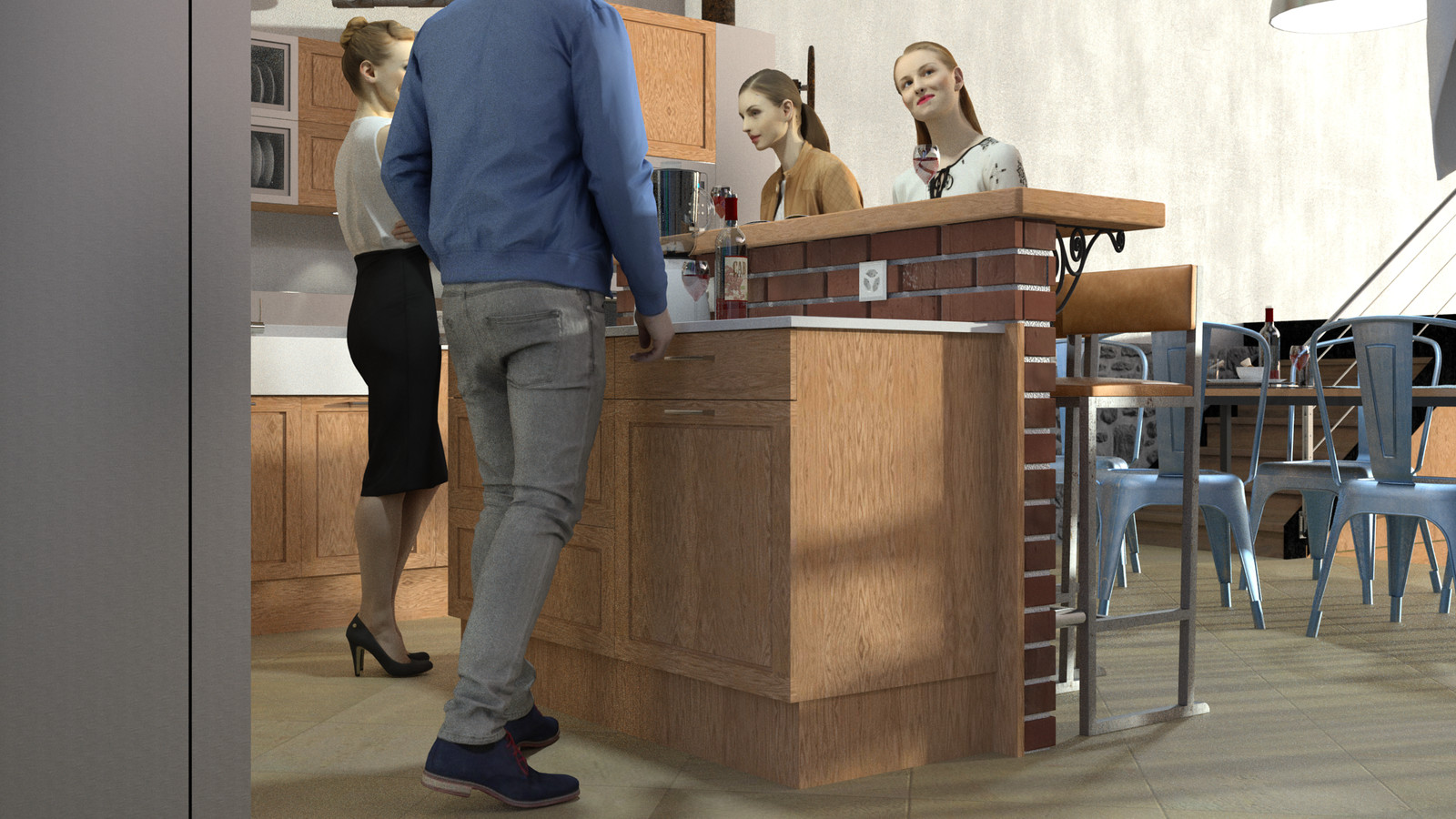 SketchUp + Thea Render  Rivendell Mill's Kitchen Bar Rivendell Brick Bar 2017-Scene 011  The 3d people are from AXYZ design collections found here: Collection 30 : http://bit.ly/2kS8pHx Collection 31 : http://bit.ly/2lJSkFu