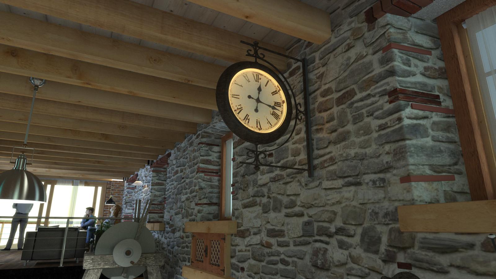 SketchUp + Thea Render  Moulin de Rivendell ( Rivendell Mill )'s Wall Clock Scene 14 Lighting test