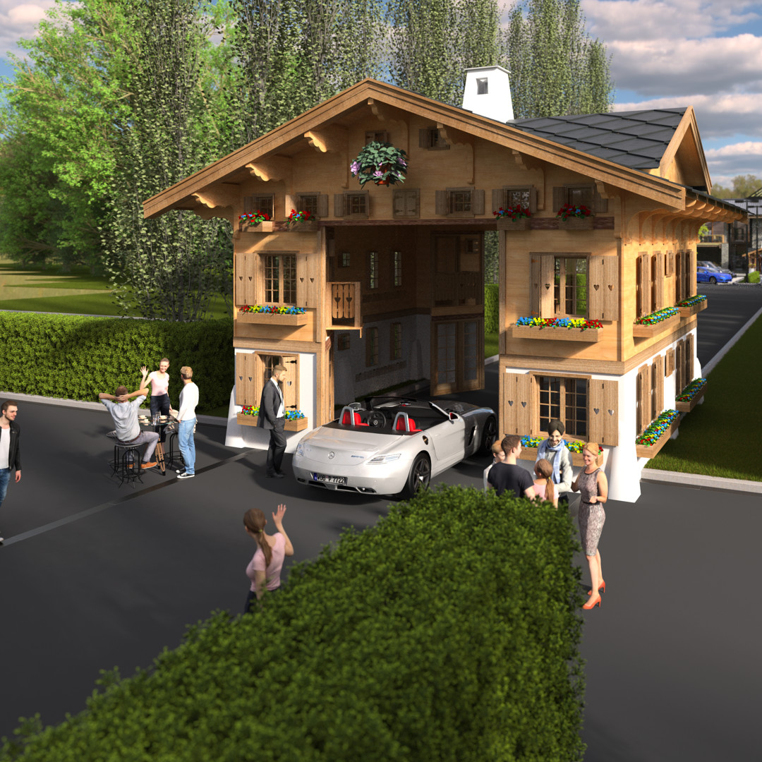 SketchUp 2018 + Thea Render  La Grange work-Scene 57 2 pt Doors open Maxi sized Traditional Swiss Chalet Event Build  HDR by HDRI-SKIES found here: http://hdri-skies.com/shop/hdri-sky-208/