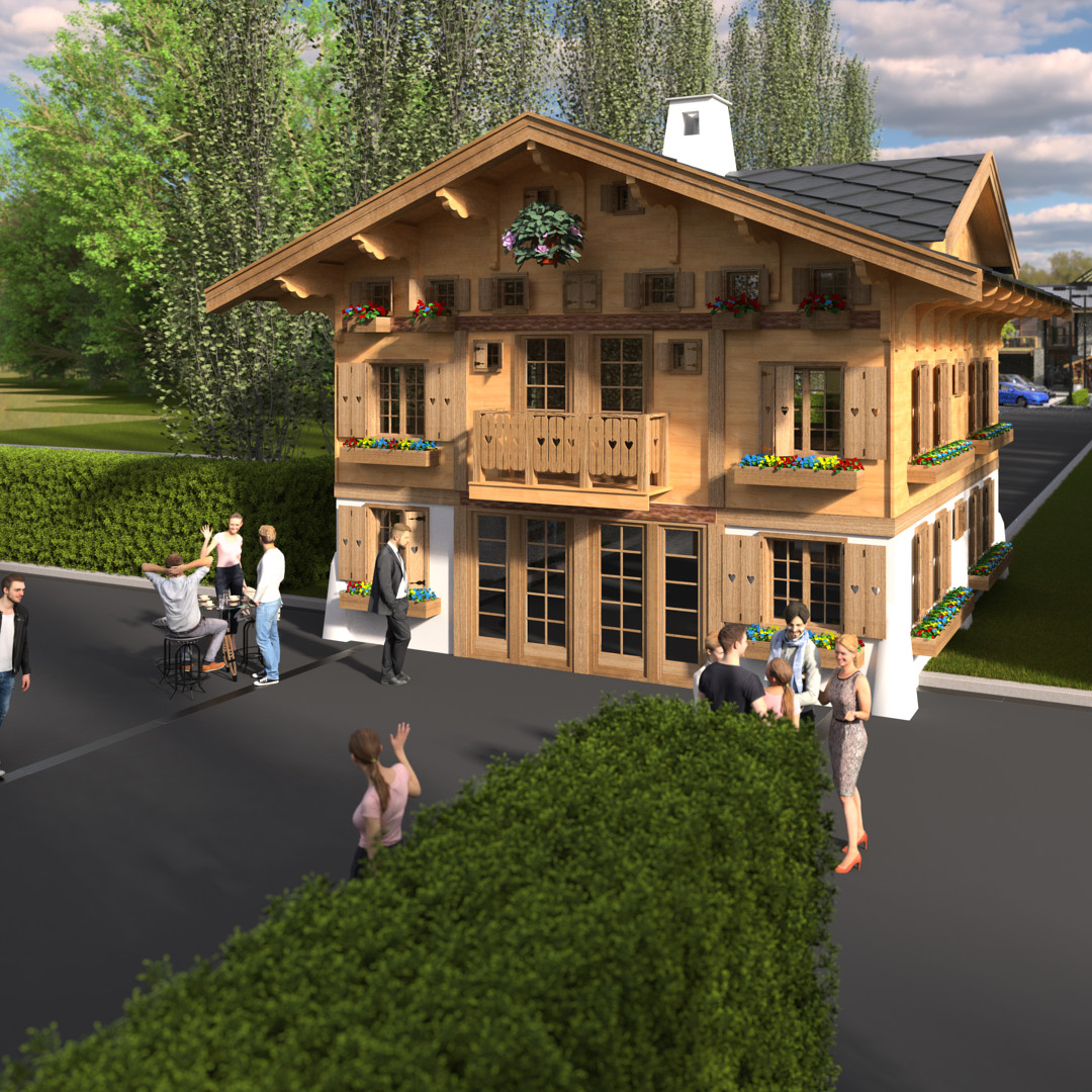 SketchUp 2018 + Thea Render  La Grange work-Scene 57 2 pt Maxi sized Traditional Swiss Chalet Event Build  HDR by HDRI-SKIES found here: http://hdri-skies.com/shop/hdri-sky-208/