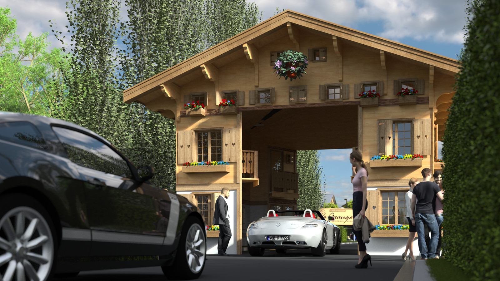 SketchUp 2018 + Thea Render  La Grange work-Scene 60 2pt Doors open Maxi sized Traditional Swiss Chalet Event Build  HDR by @HDRI-SKIES found here: http://hdri-skies.com/shop/hdri-sky-208/