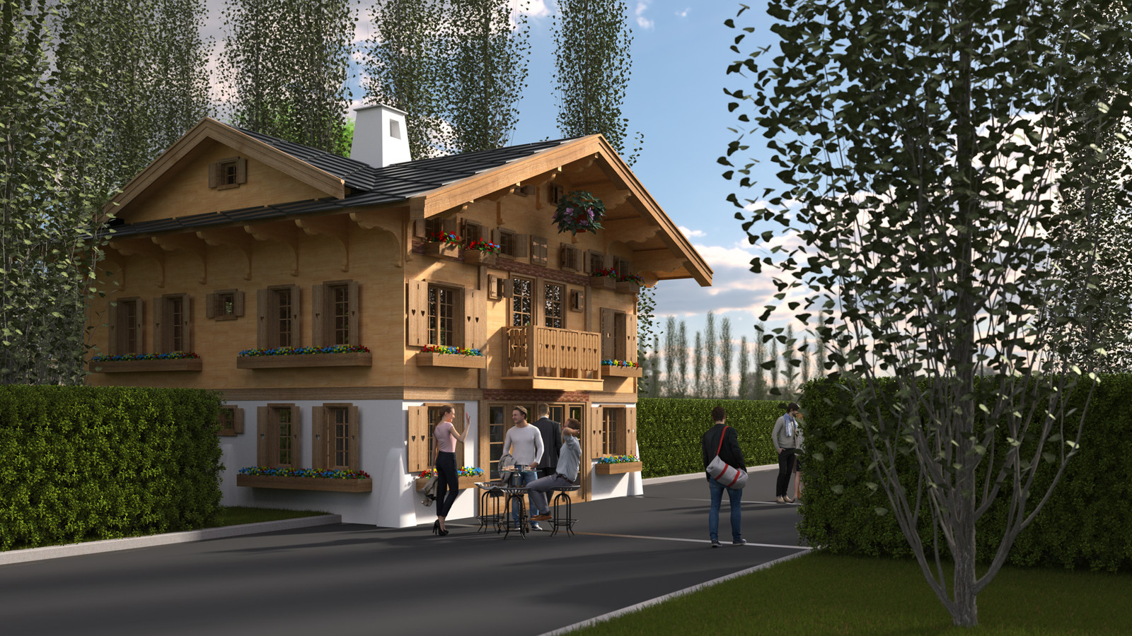 SketchUp 2018 + Thea Render  La Grange work-Scene 59 2pt Maxi sized Traditional Swiss Chalet Event Build  HDR by HDRI-SKIES found here: http://hdri-skies.com/shop/hdri-sky-208/