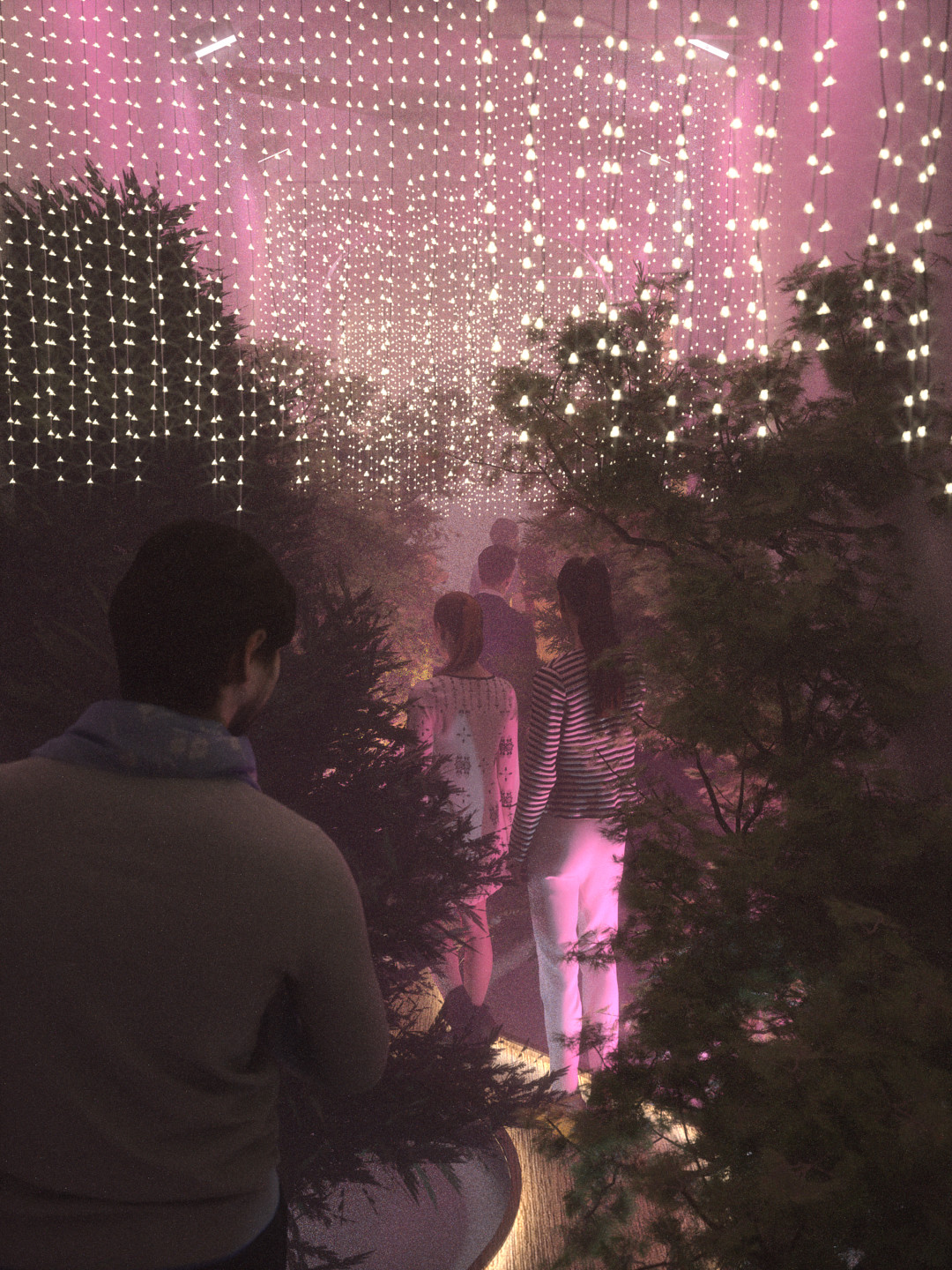 SketchUp 2018 + Thea Render Forest Hallway-Scene 15 Pink All