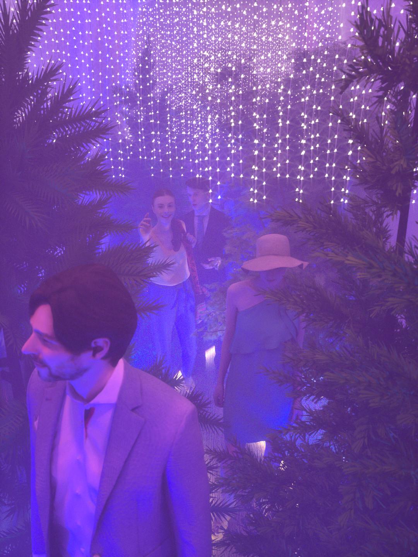 Duane kemp forest hallway scene 18 pink t blue b