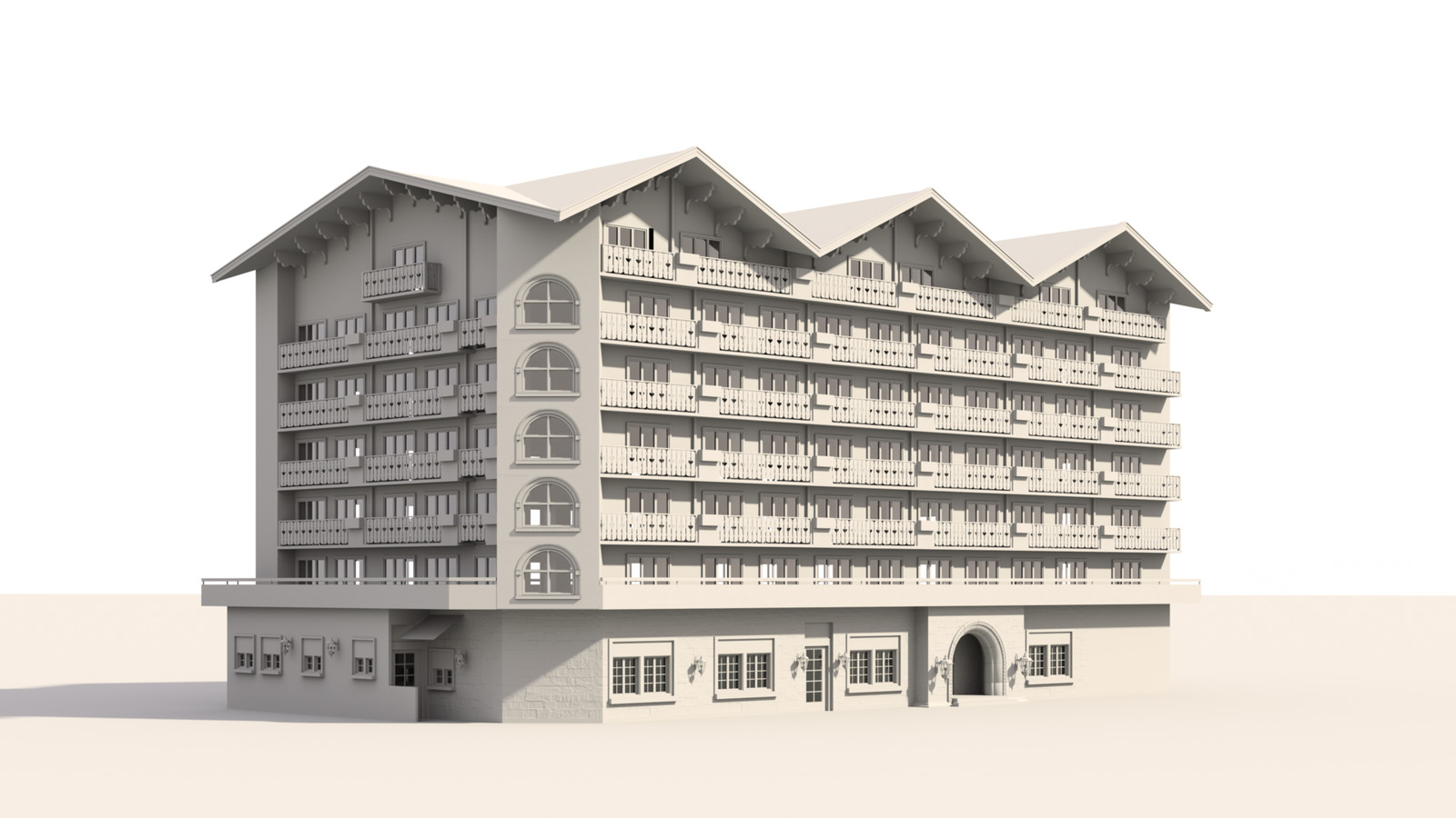 SketchUp 1018 + Thea Render  Alpine hotel PPE-Scene 2 clay