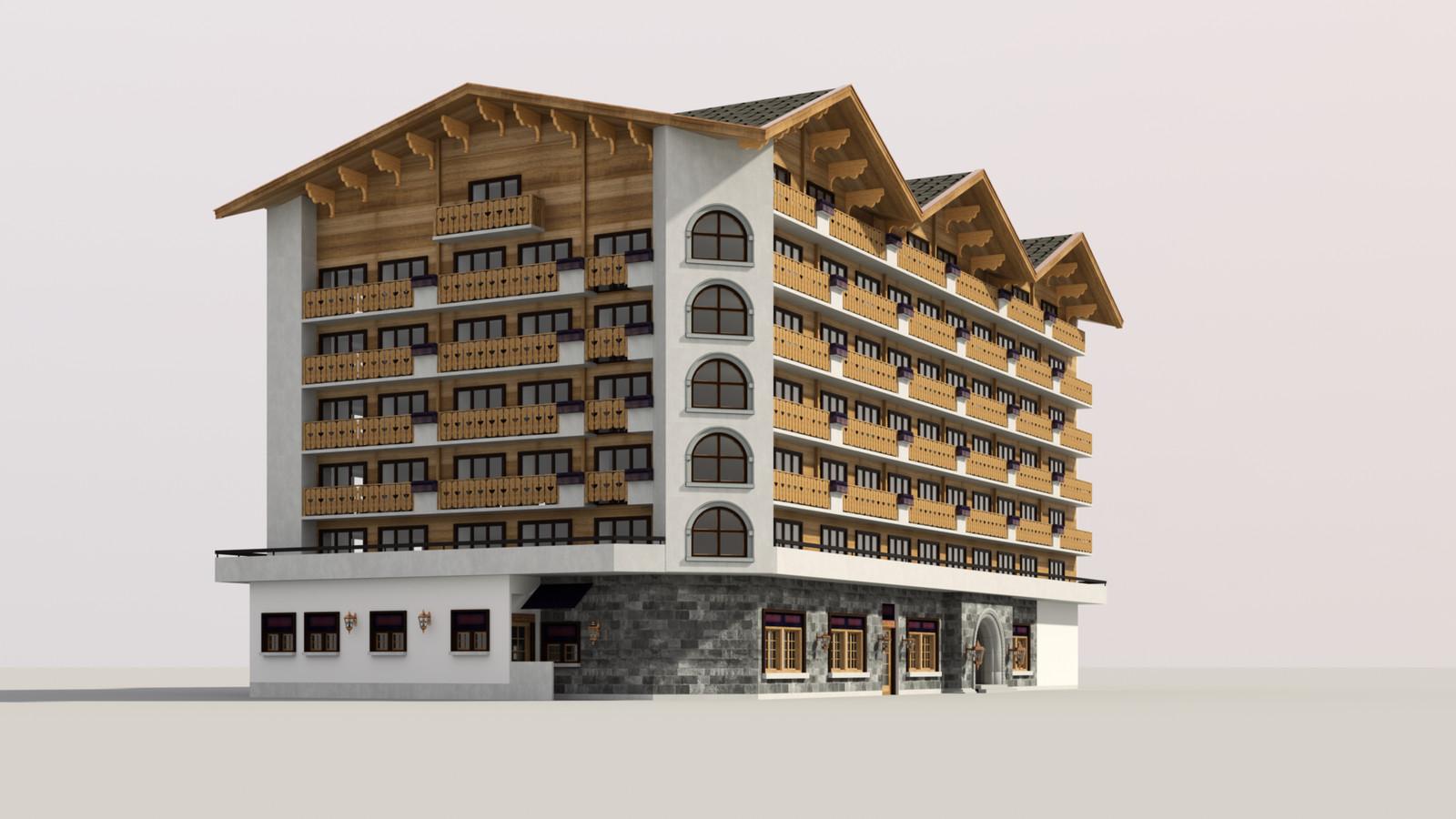 SketchUp 1018 + Thea Render  Alpine hotel PPE-Scene 4