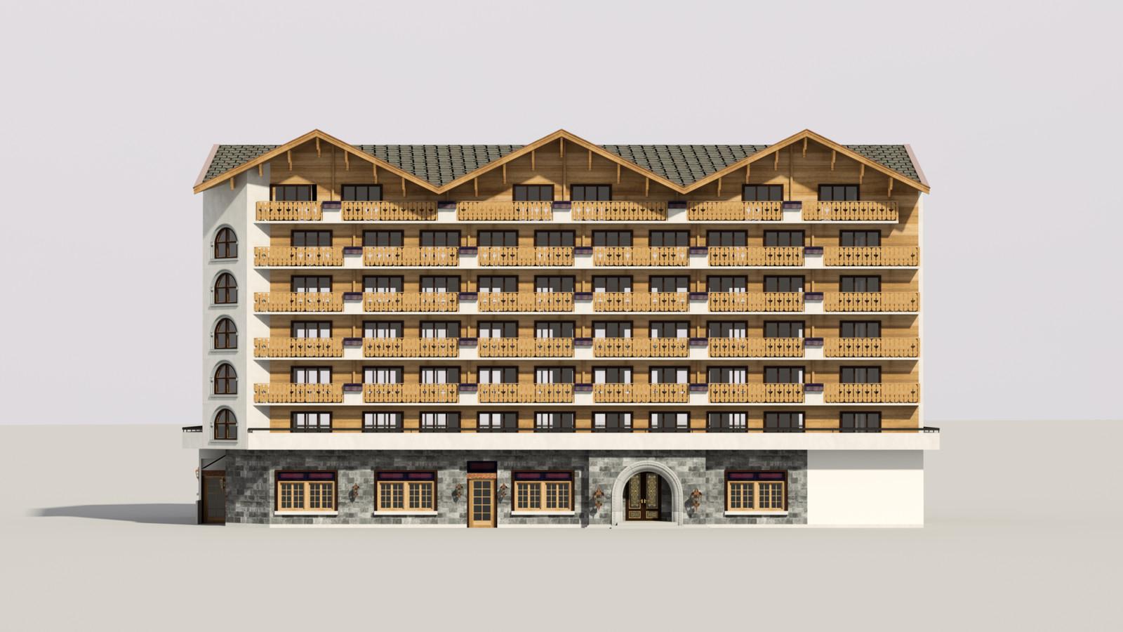 SketchUp 1018 + Thea Render  Alpine hotel PPE-Scene 6