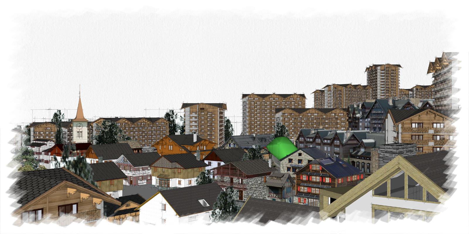 SketchUp 2018  Alpine Village Full-Scene 5 2x1 02 SU C