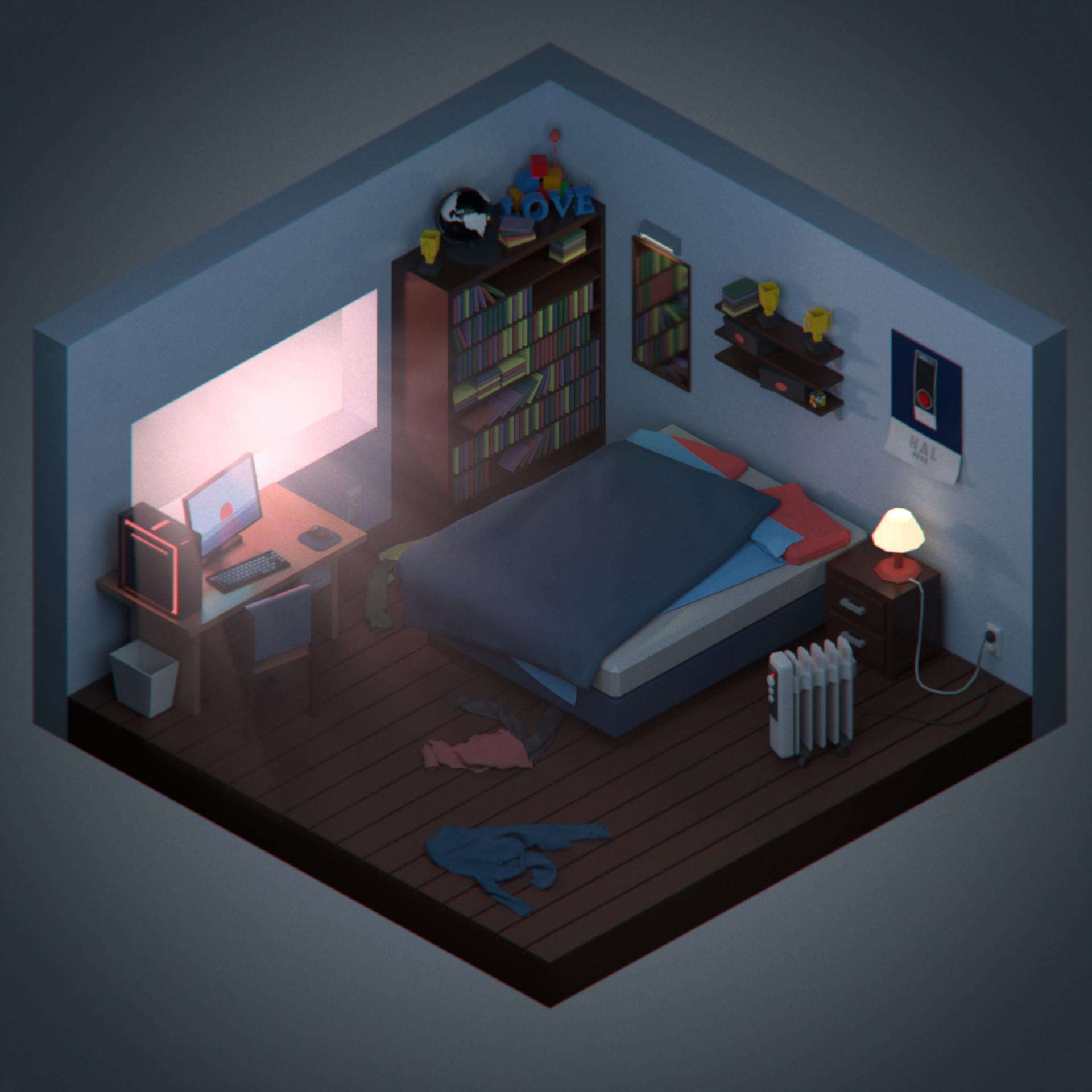 Artstation Isometric Bedroom Oscar Bartle