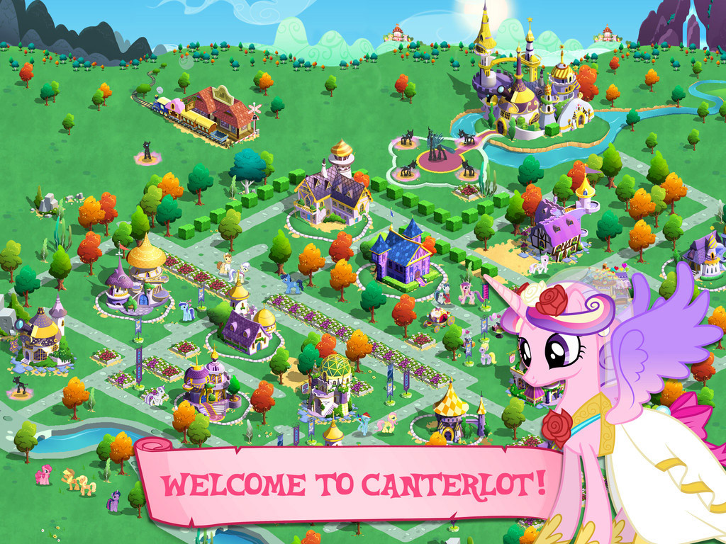 I moved on to lead another project before full on production of the Canterlot map took place, but I did create several of the buildings + hand painted the trees.