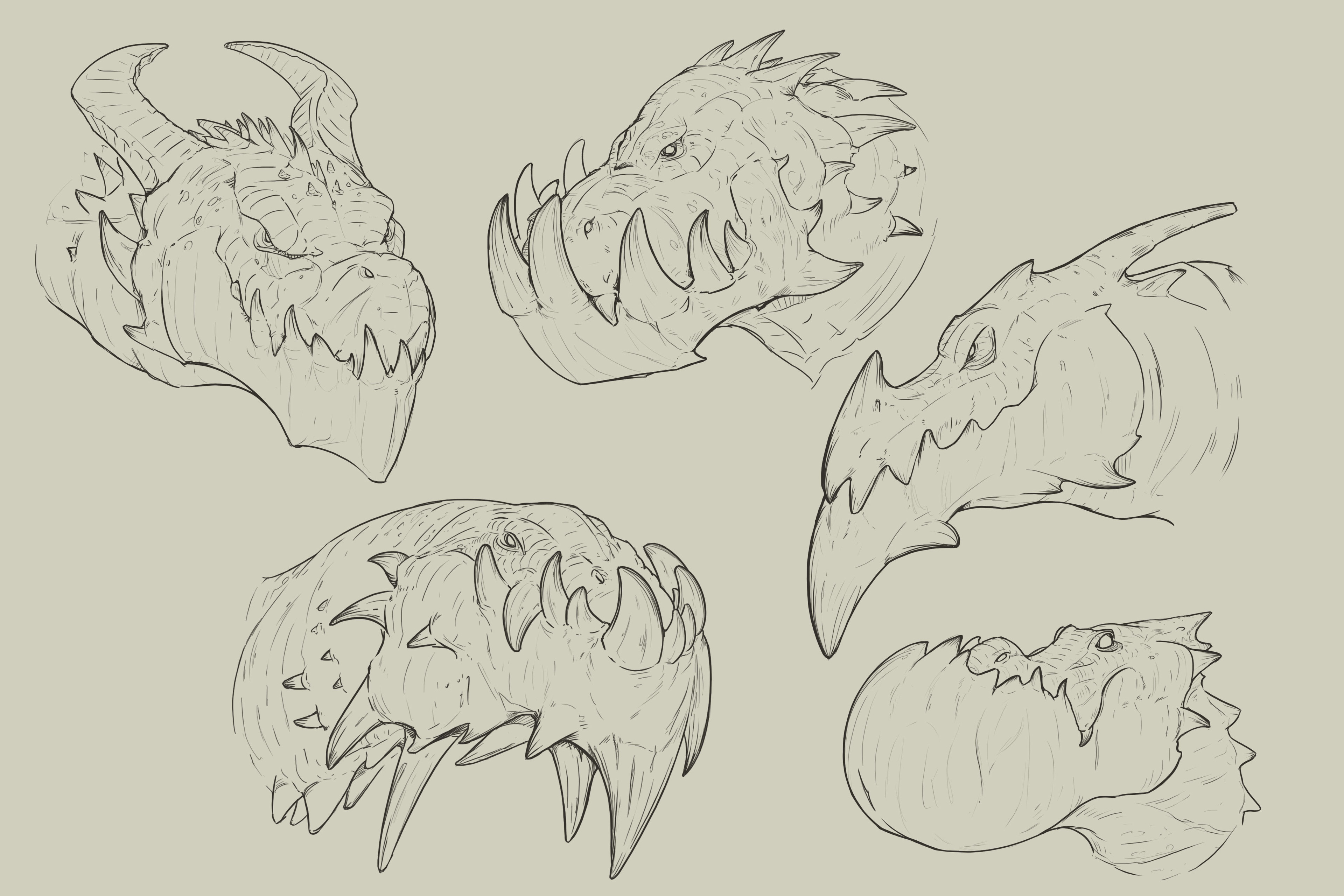 Some dragon heads exploration that triggered the main idea.