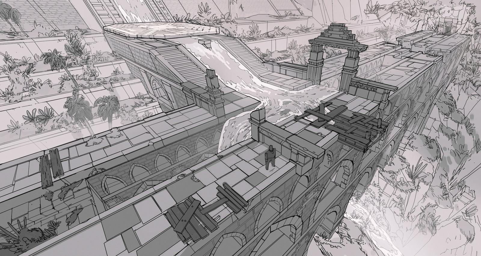 Bridge and Jungle Ruins Concepts - Adventure RPG Game