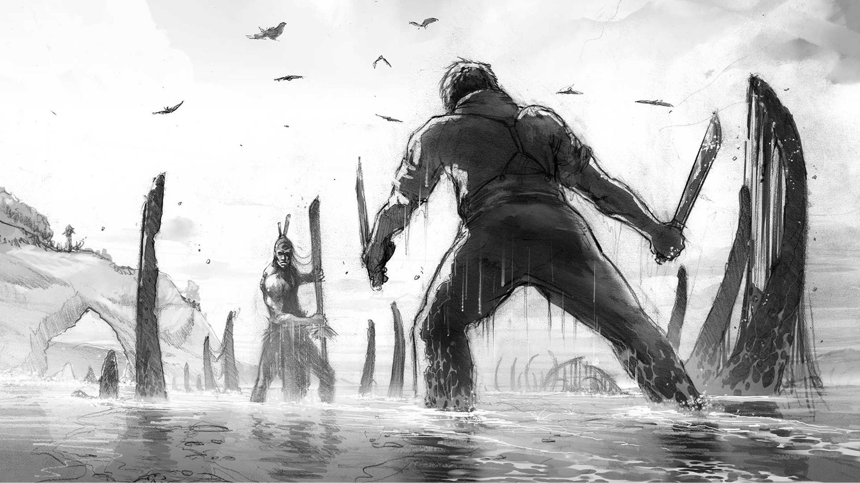 Heavy rendered sketch with ques for depth and tone. Darker Values at the FG