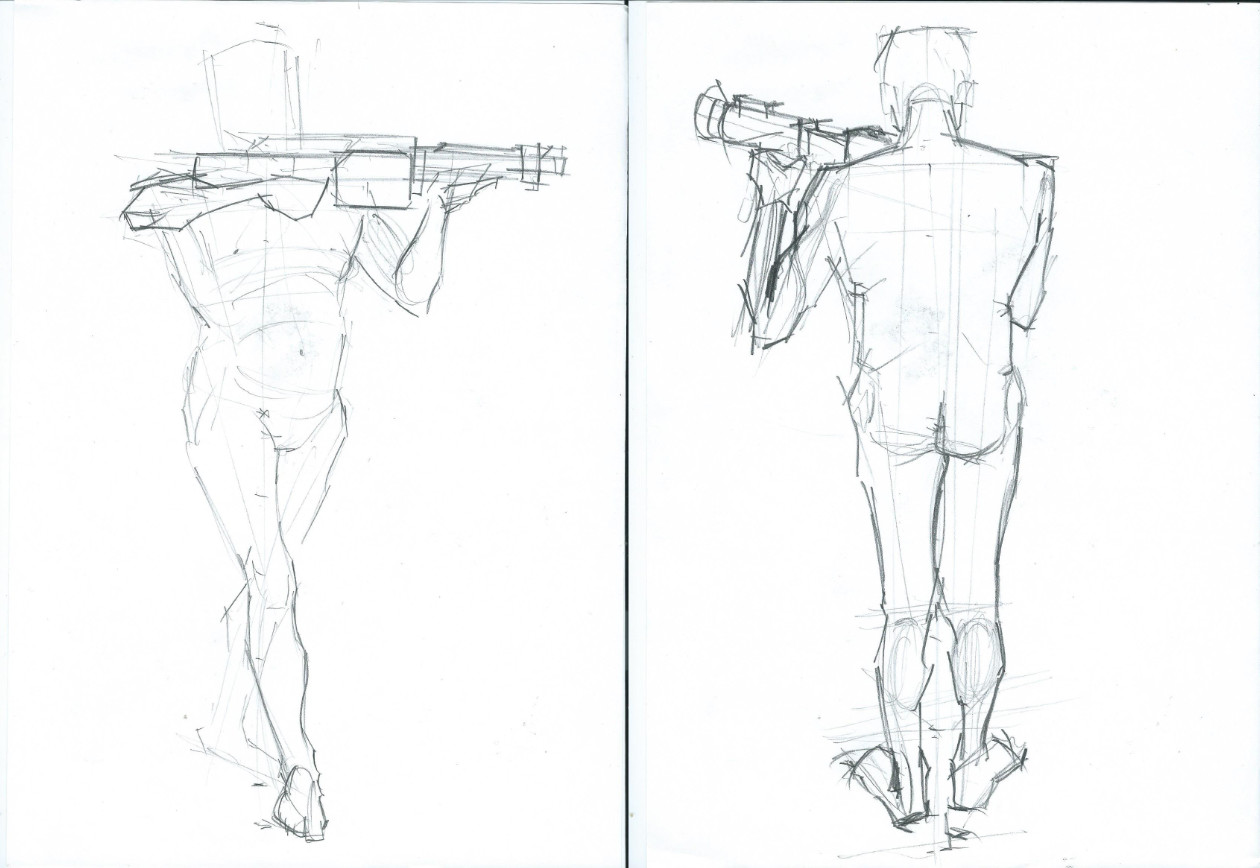 Ioan Rusu Life Drawing Anatomy Handgun Pose