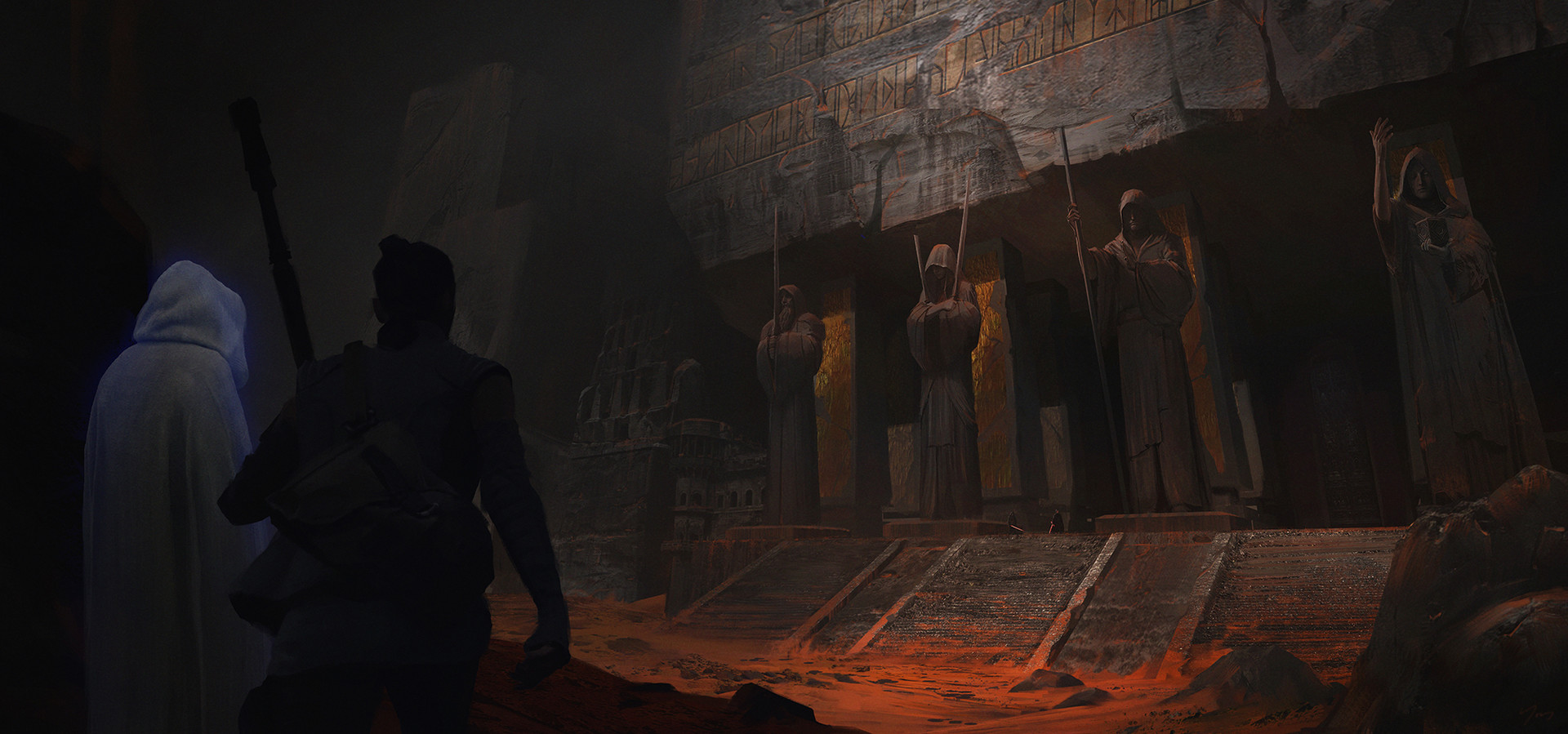 Fan art for Star Wars, confrontation at an ancient Jedi Temple