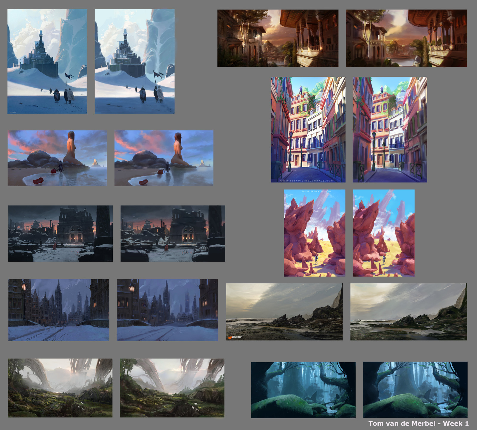 1hr Thumbnail Copies. Originals on the left. Artists: from up to down/left to right:   J. Paillotin James Zapata J. Paillotin Titus Lunter Titus Lunter Titus Lunter Sylvain Sarrailh Sylvain Sarrailh Titus Lunter J. Paillotin
