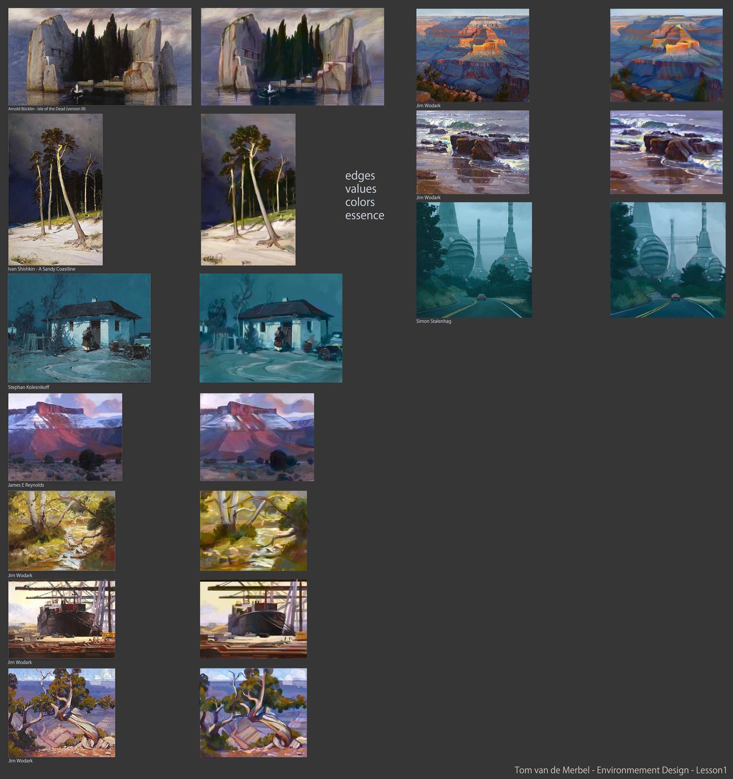 1h Thumbnail studies from: Arnold Böcklin Ivan Shishkin Stephan Kolesnikoff James E Reynolds Jim Wodark Jim Wodark Jim Wodark Jim Wodark Jim Wodark Simon Stalenhag