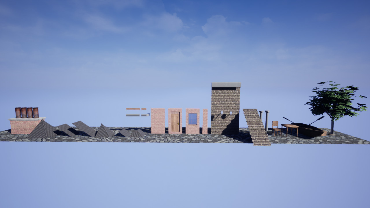 Here is the set of modular assets I used to create my scene.