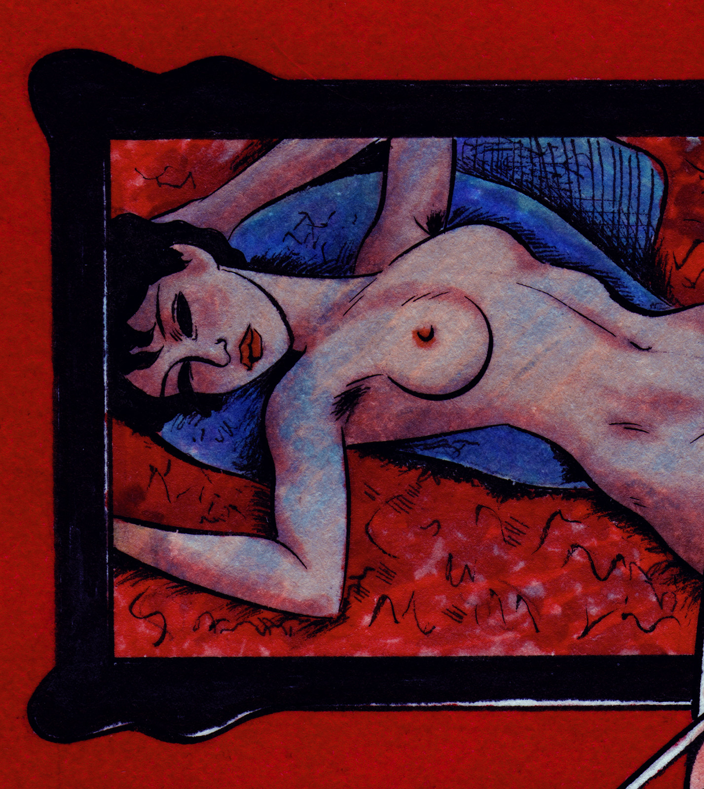 """Close-up of """"Reclining Nude"""" by Amadeo Modigliani."""