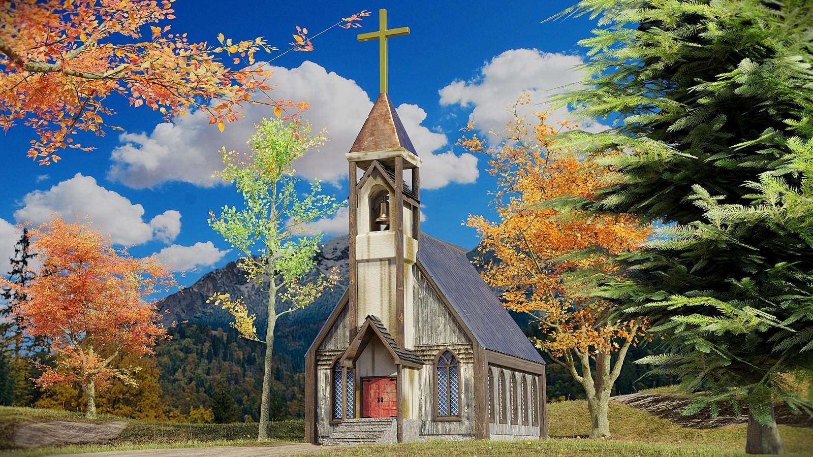 Old Country Church Scene - Realistic Tree Asset Pack (Steve Lund, CGGeek)  - Grass Essentials (Andrew Price, Blender Guru)