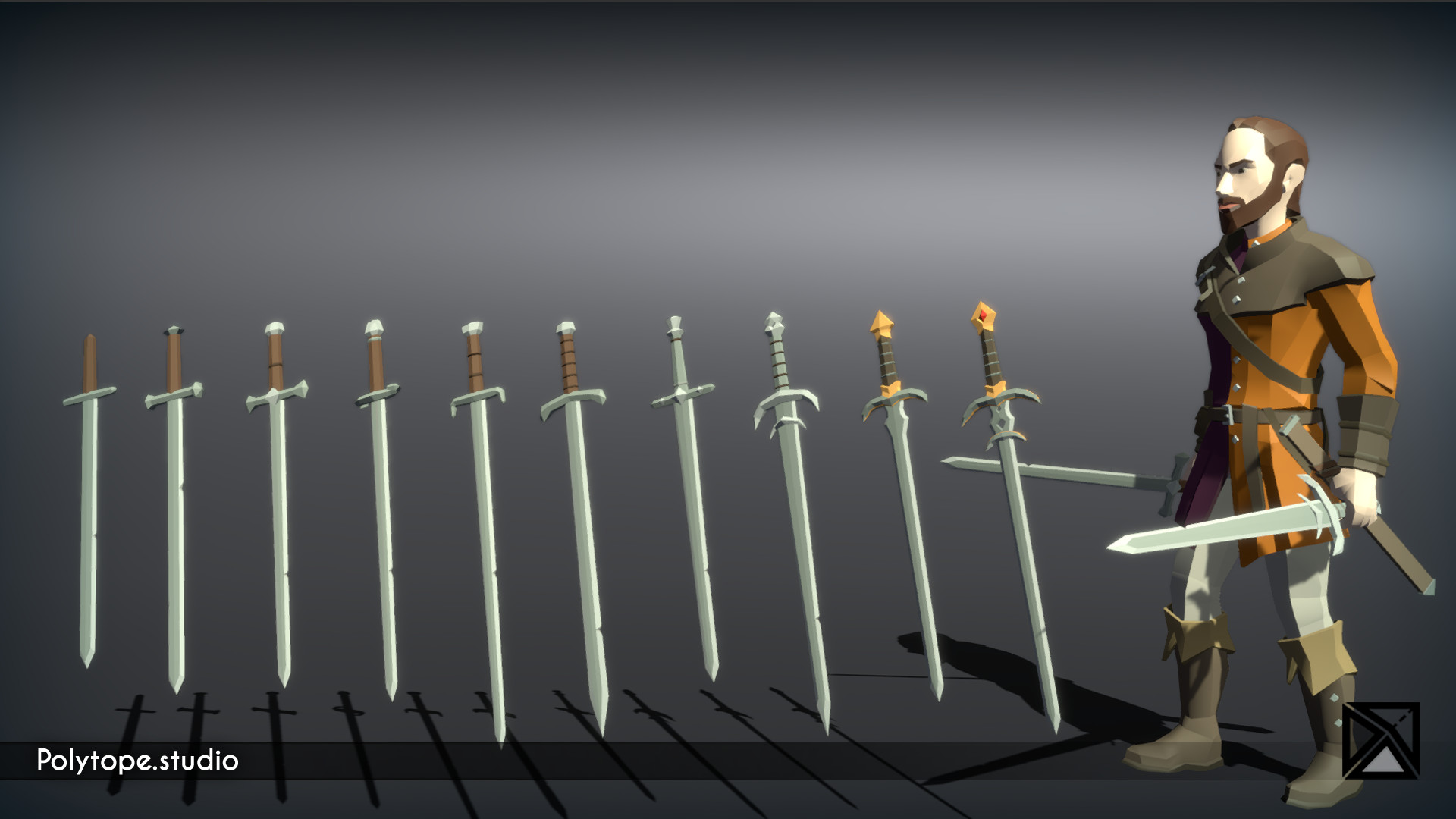 Polytope studio pt medieval lowpoly weapons sword