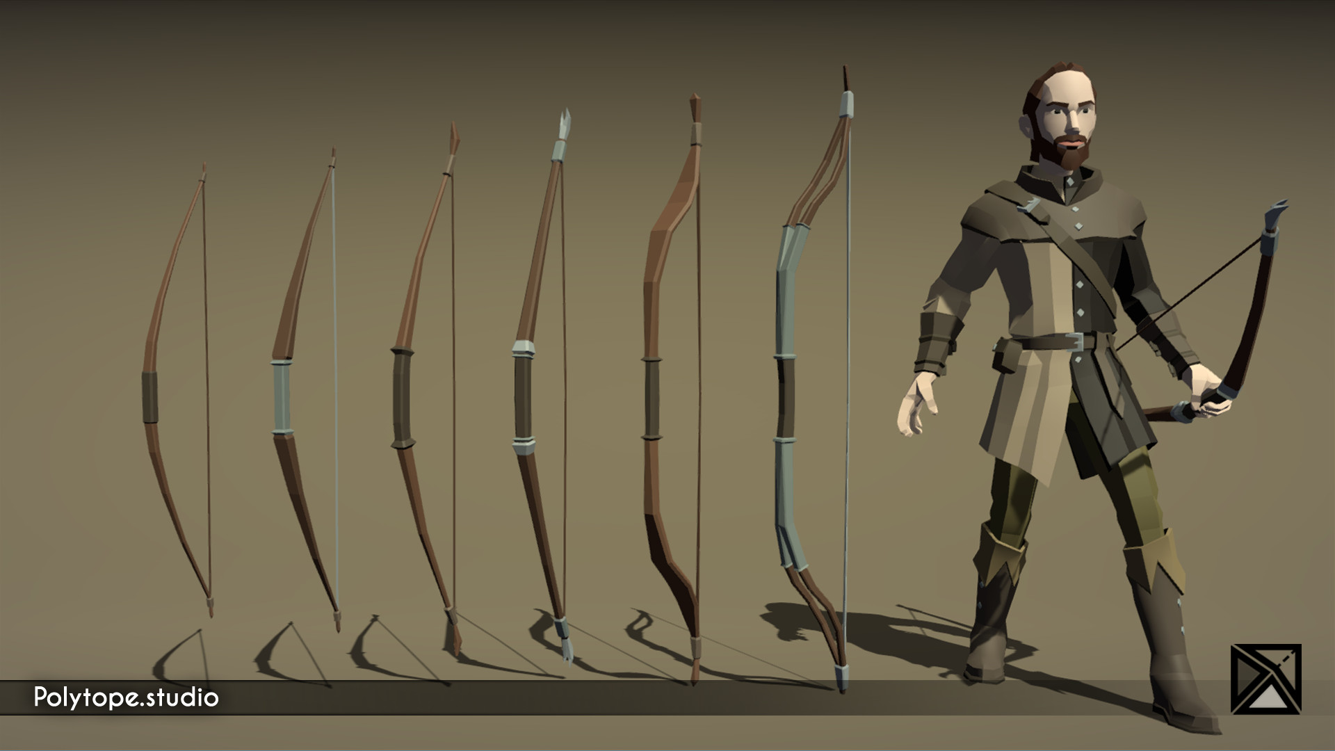 Polytope studio pt medieval lowpoly weapons longbow