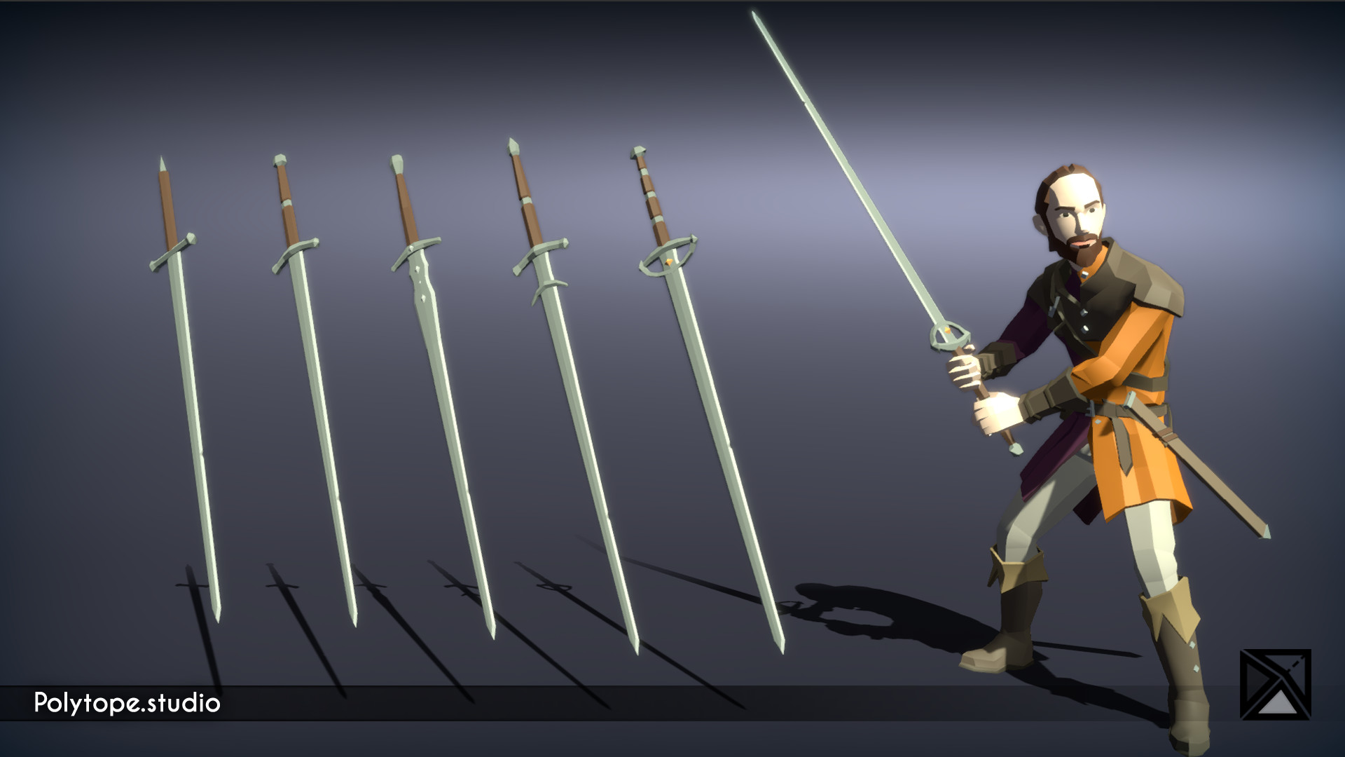 Polytope studio pt medieval lowpoly weapons long sword