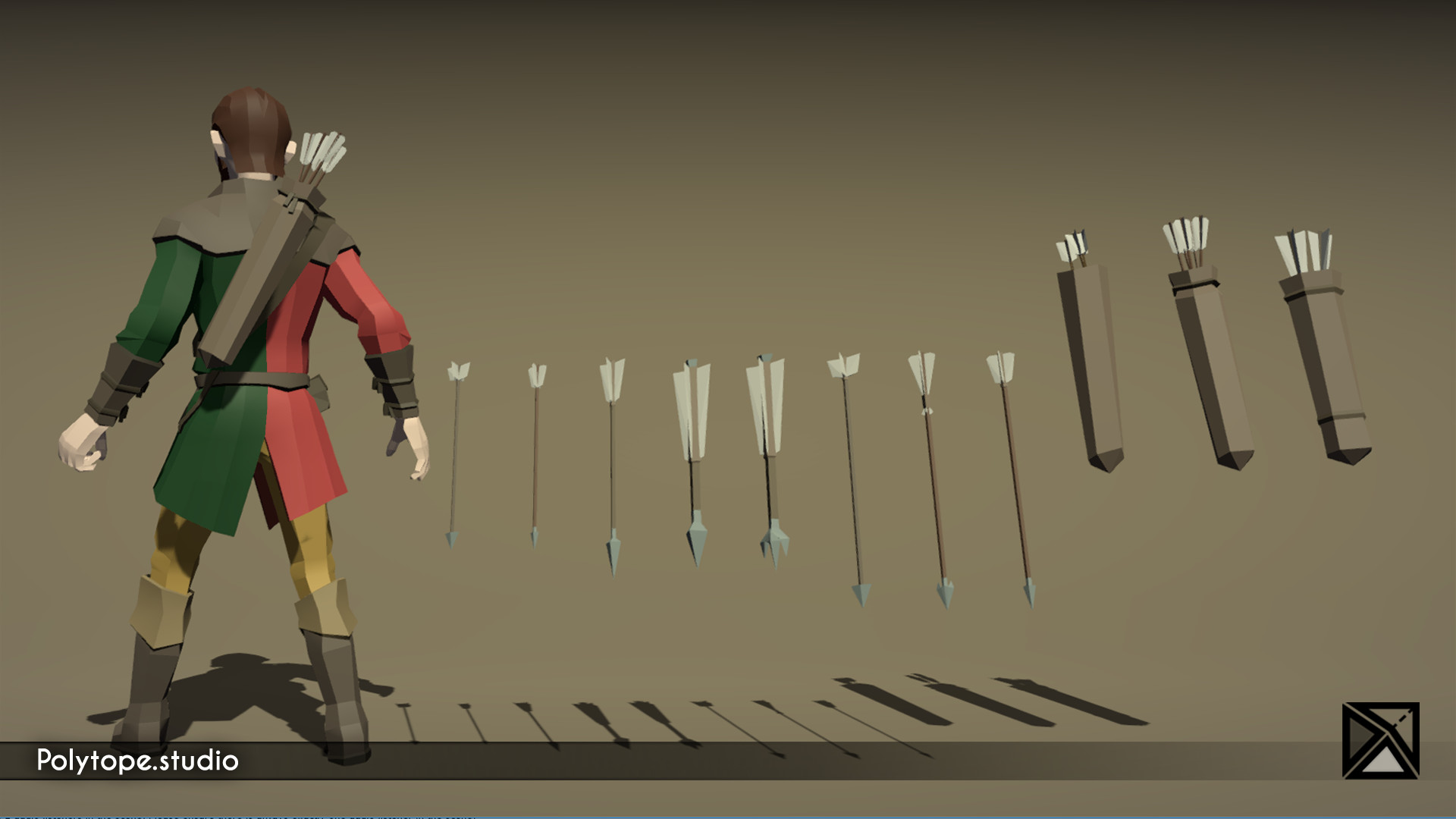 Polytope studio pt medieval lowpoly weapons arrow quiver