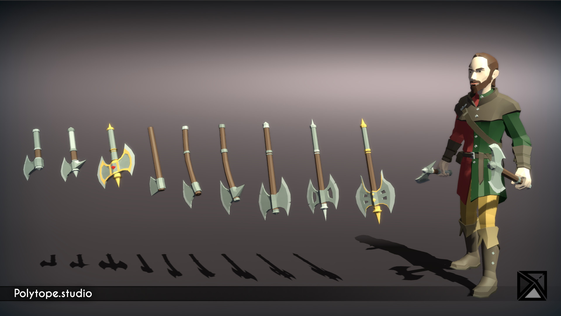 Polytope studio pt medieval lowpoly weapons waraxe