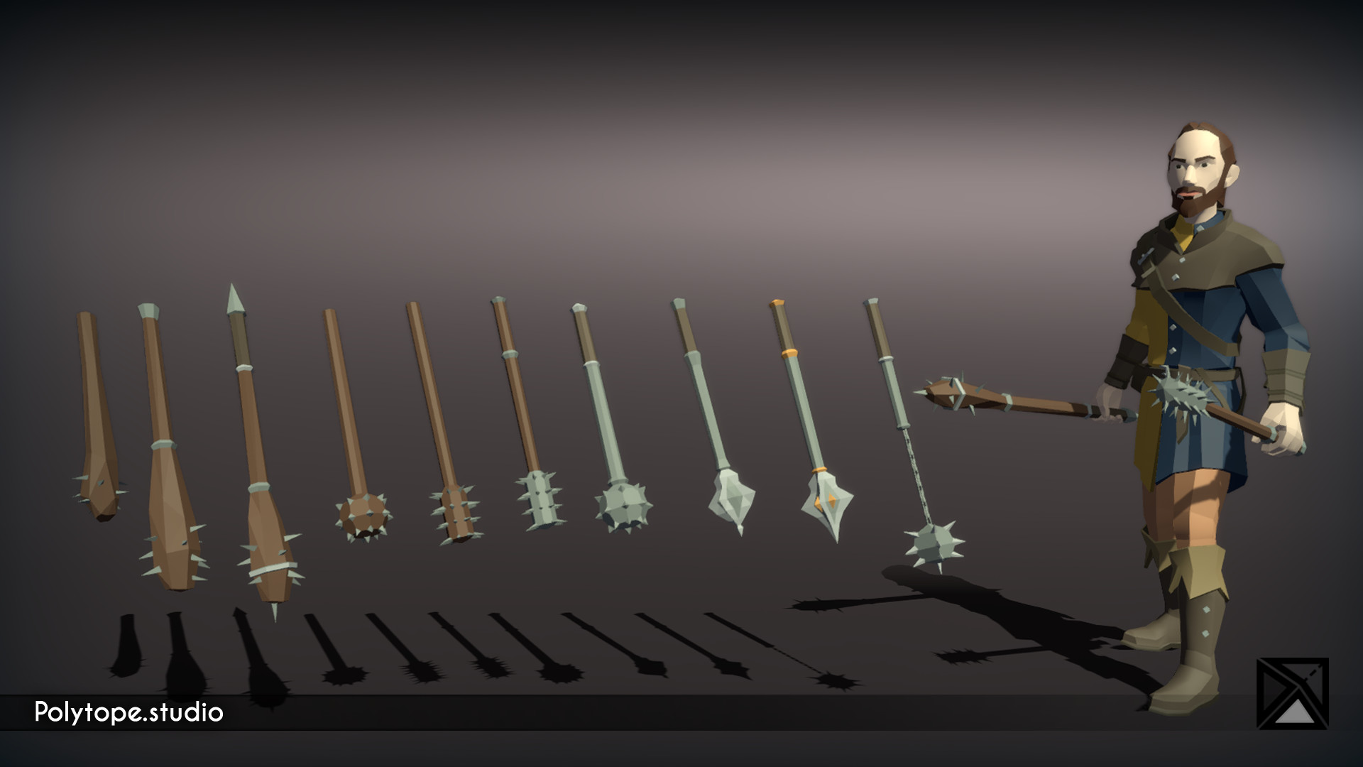 Polytope studio pt medieval lowpoly weapons club mace