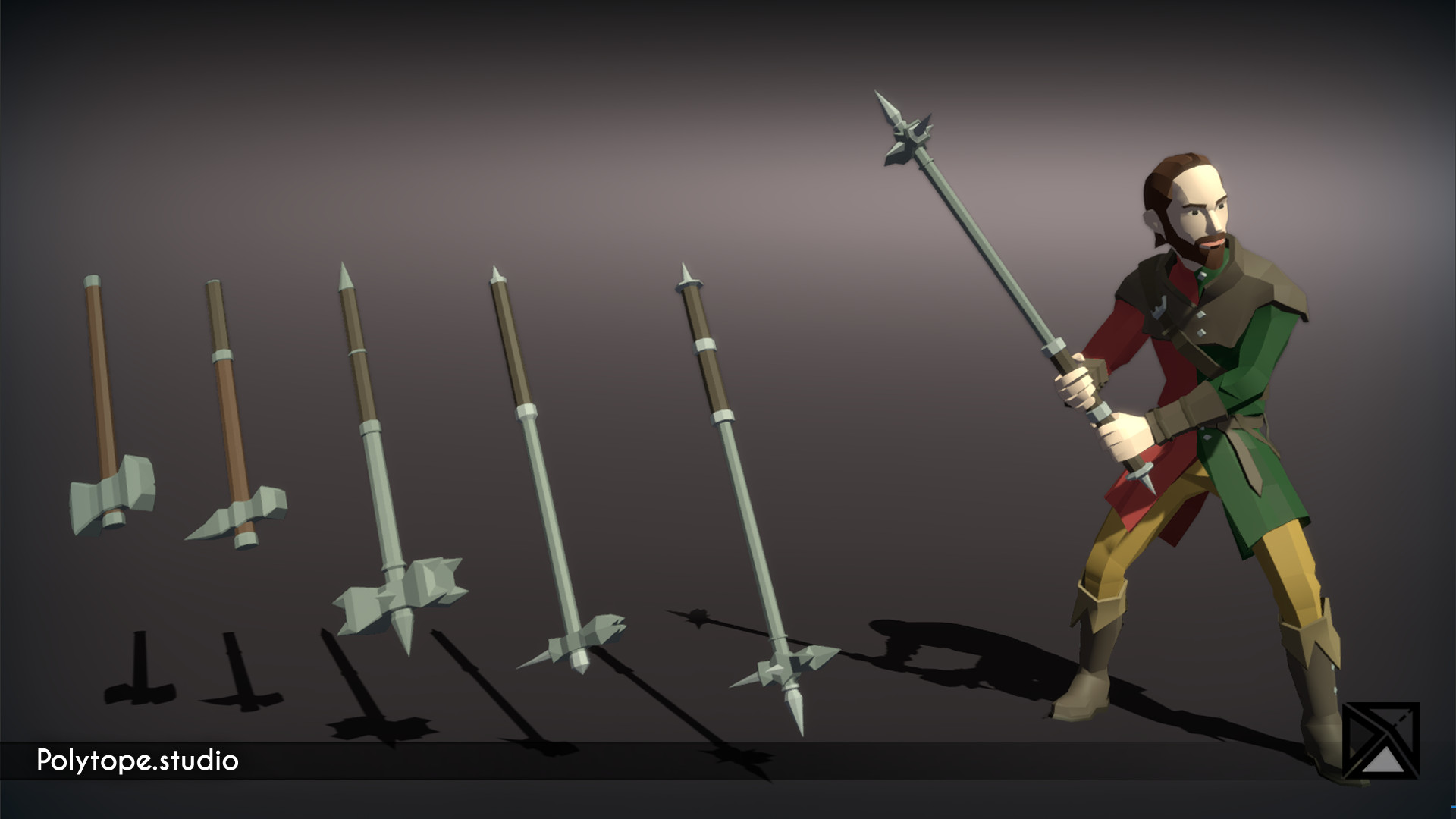 Polytope studio pt medieval lowpoly weapons warhammer