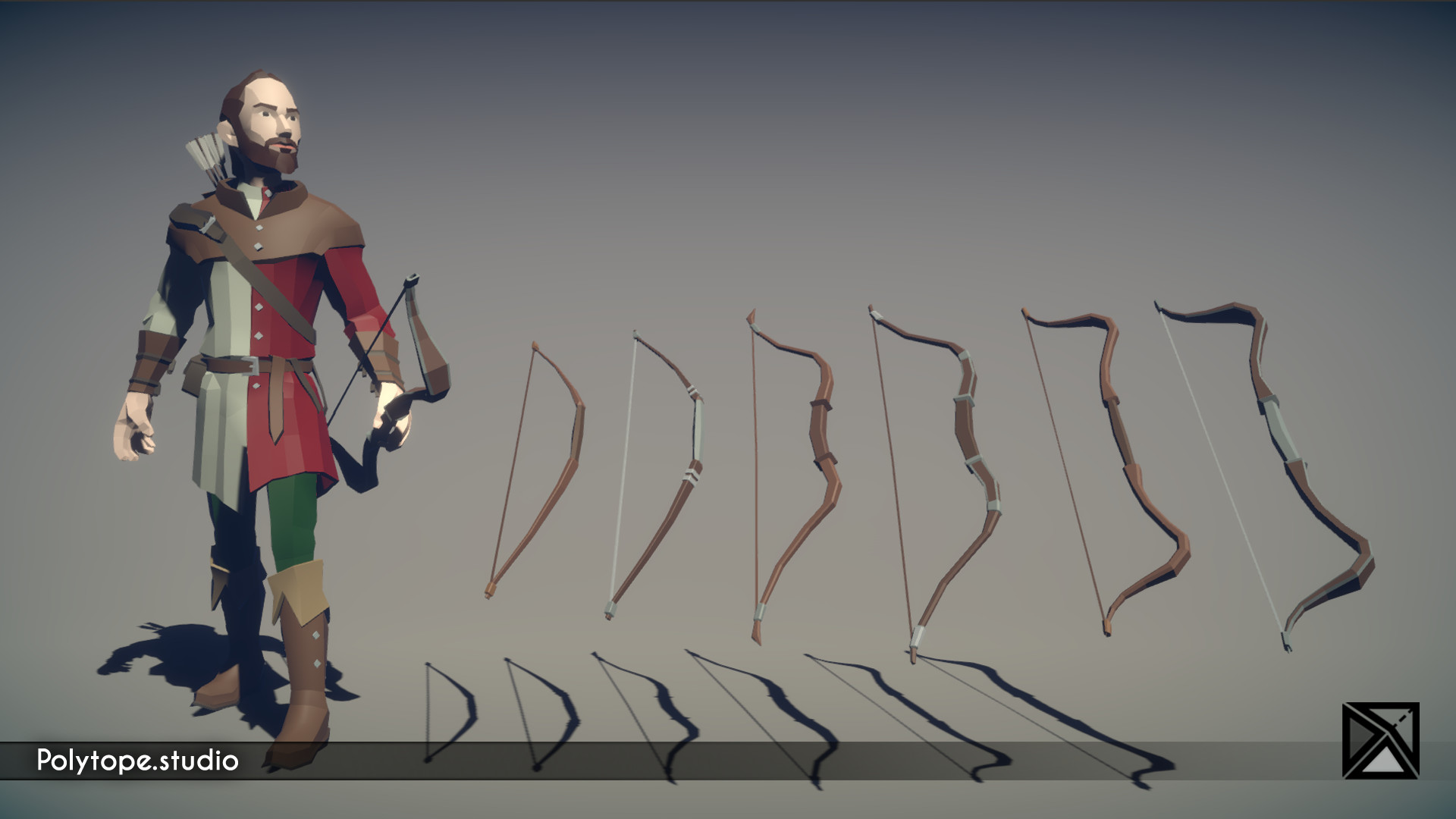 Polytope studio pt medieval lowpoly weapons medium bow