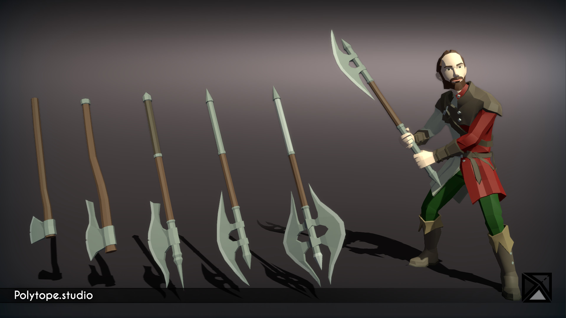 Polytope studio pt medieval lowpoly weapons waraxe large