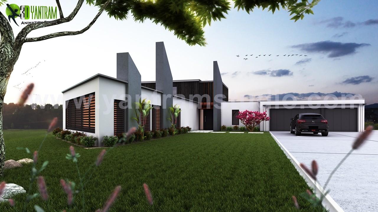 Beautiful Modern Exterior Rendering Design By Yantram Architectural Design  Studio   London, UK
