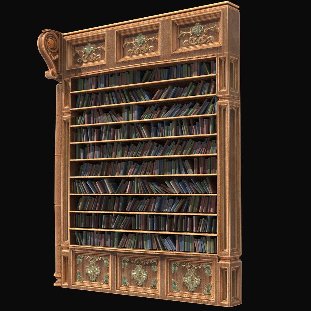 Book shelf and its books! All physics and randomized right inside of Modo.