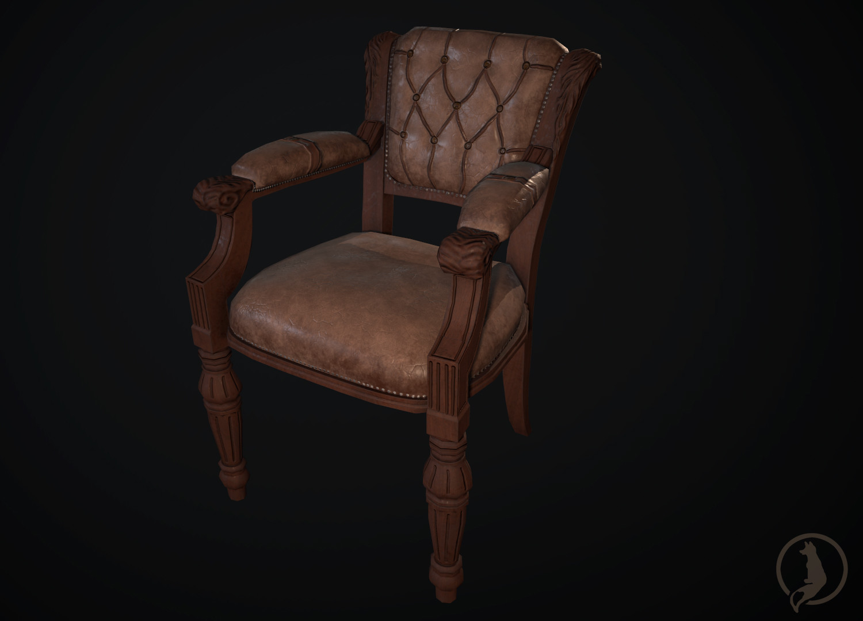 Enjoyable Artstation Victorian Era Inspired Leather Chair Jackie O Inzonedesignstudio Interior Chair Design Inzonedesignstudiocom
