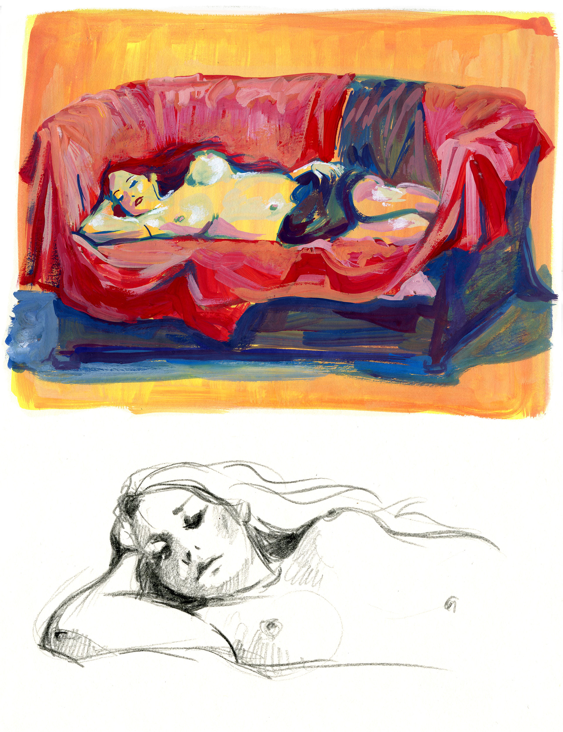 Elisa moriconi 4 10 ottobre the lying girl gouache 01
