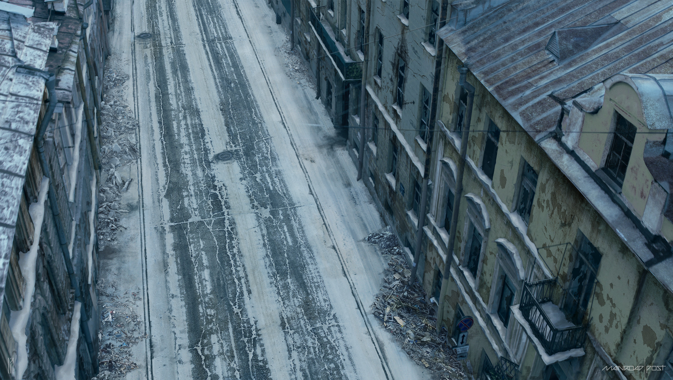 Matte painting of the ruined street, top view