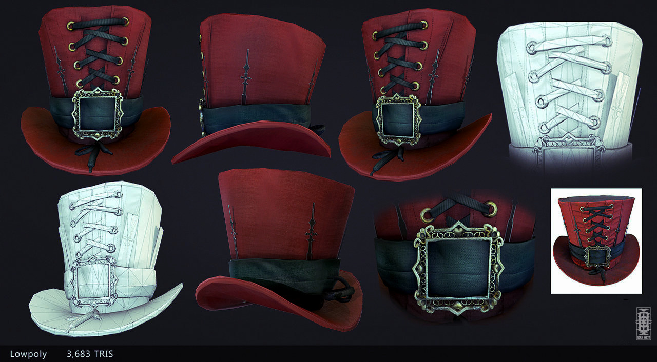 Lauren w red top hat coloured lowpoly by eden west d8p2jza