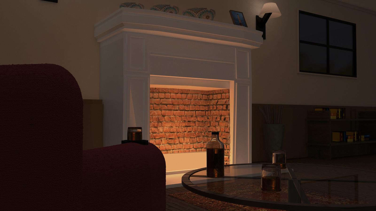 Final render, Fireplace