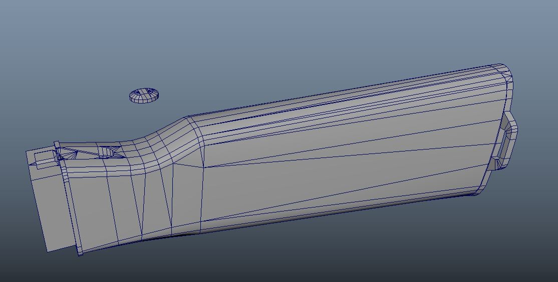 After I was satisfied block out AK, I built detail parts, one by one. I kept it at low poly version, but still ensure I had enough edges for Curve.