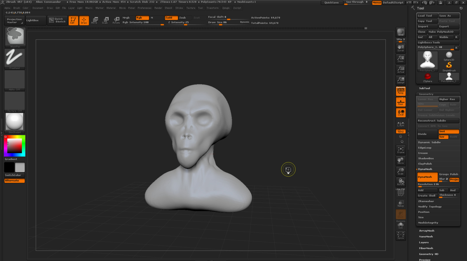 Early stage of the alien bust