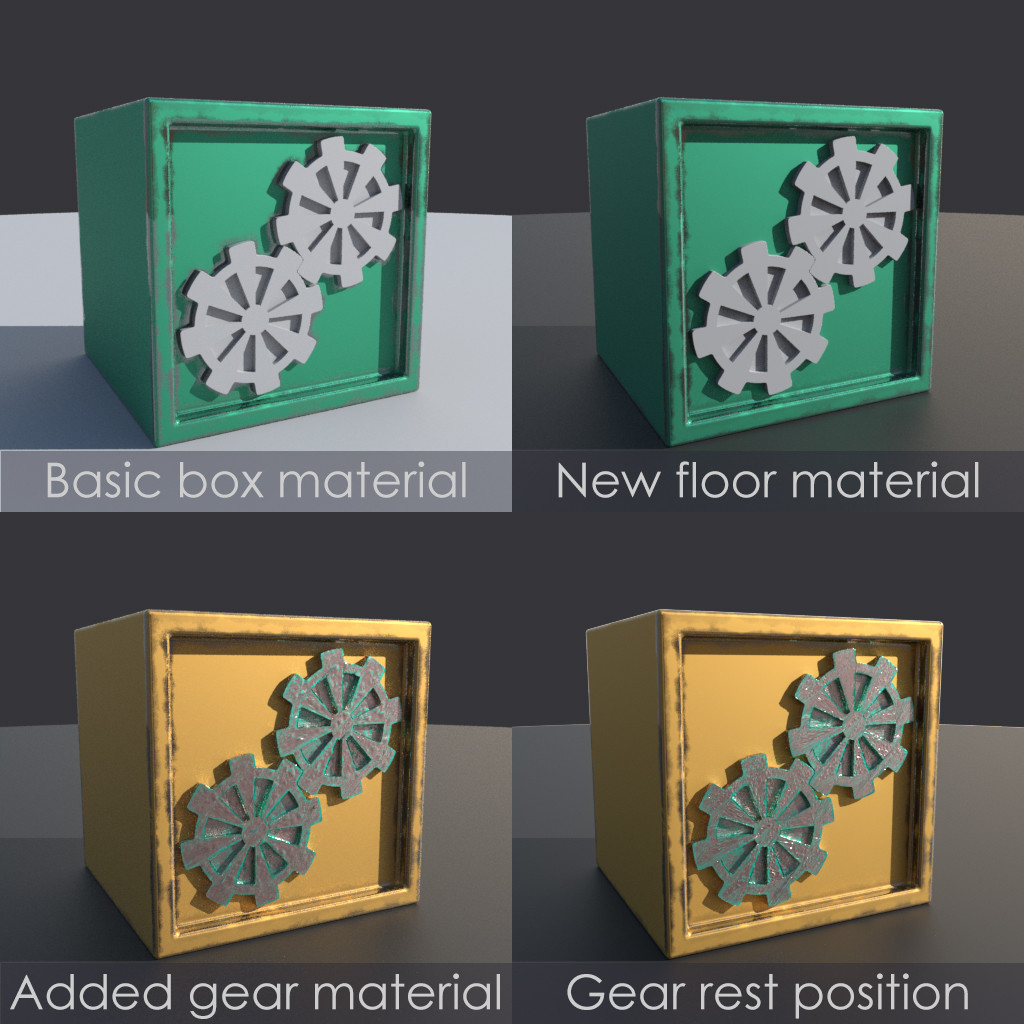 Various stages of creation from the gearbox.