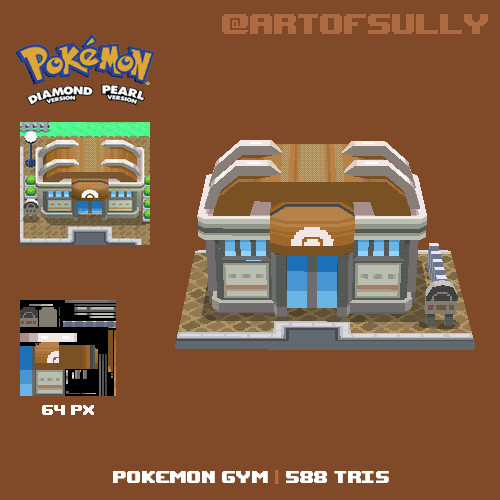 3D Pixel-Art Pokemon Gym (Pokemon Diamond/Pearl fanart)