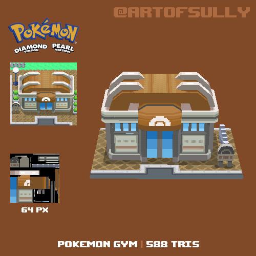 3D Pixel-Art Pokemon Gym (Pokemon Diamond/Pearl fanart)