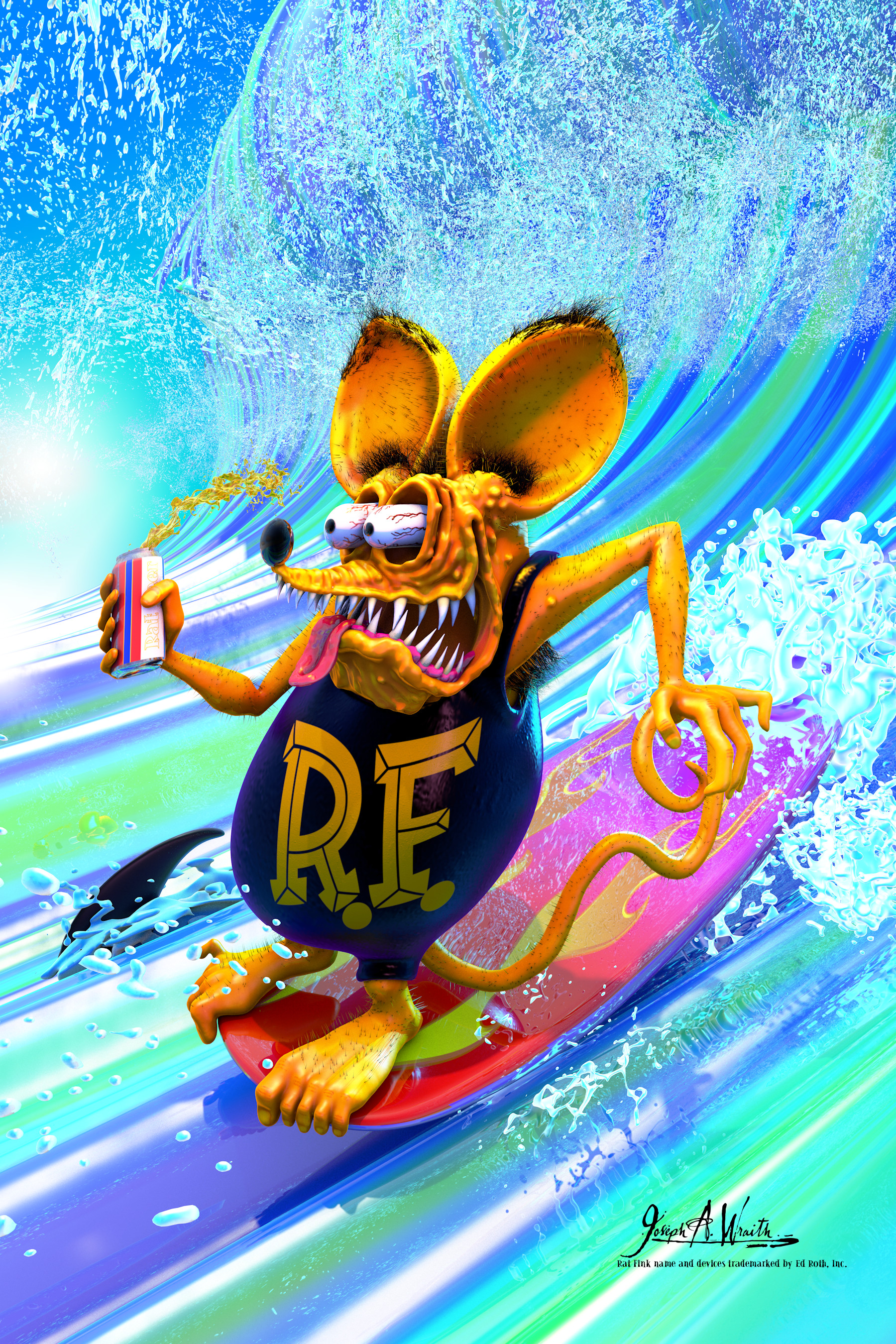 Rat Fink Surfs! ©2018 Copyright, Joseph A. Wraith Rat Fink name and devices trademarked by Ed Roth, Inc.