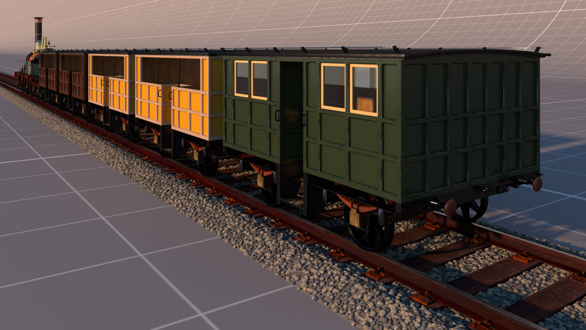 Full render of the train, backside.