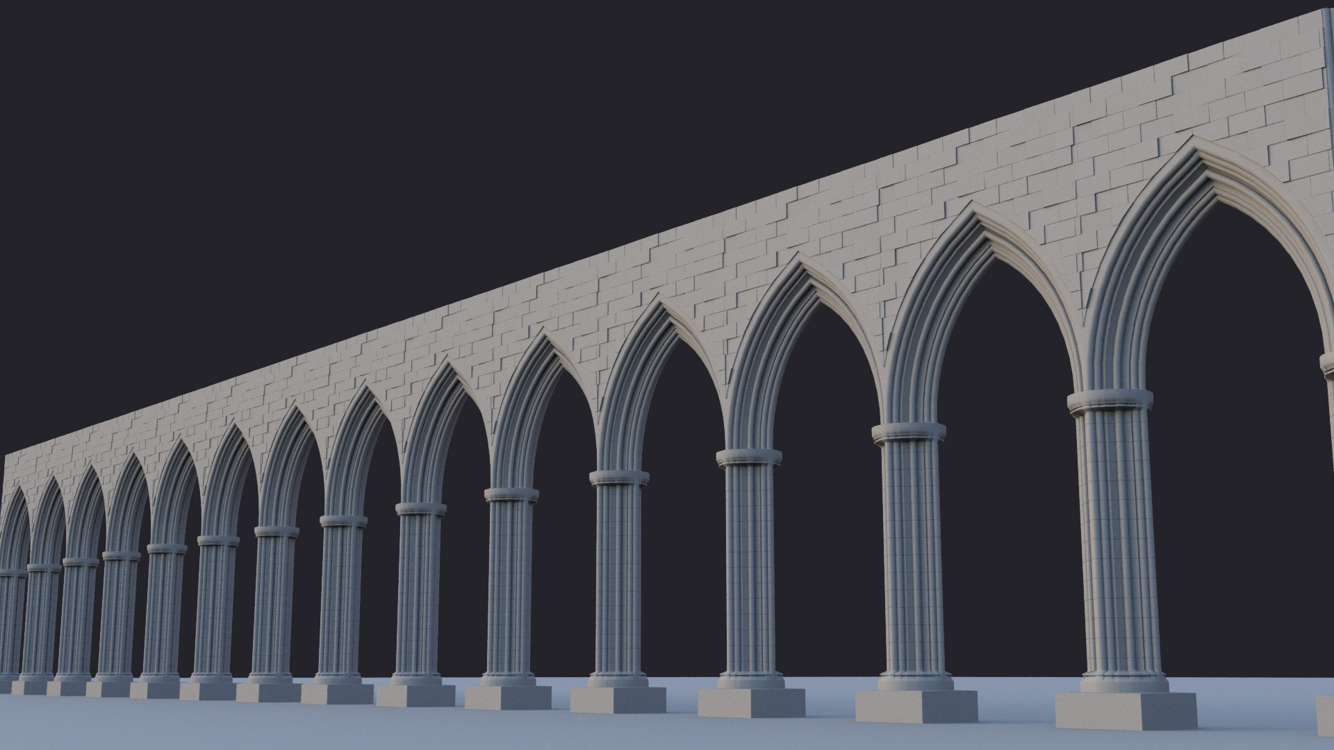 The first step in creating the scene, some basic pillars with a bunch of bricks.