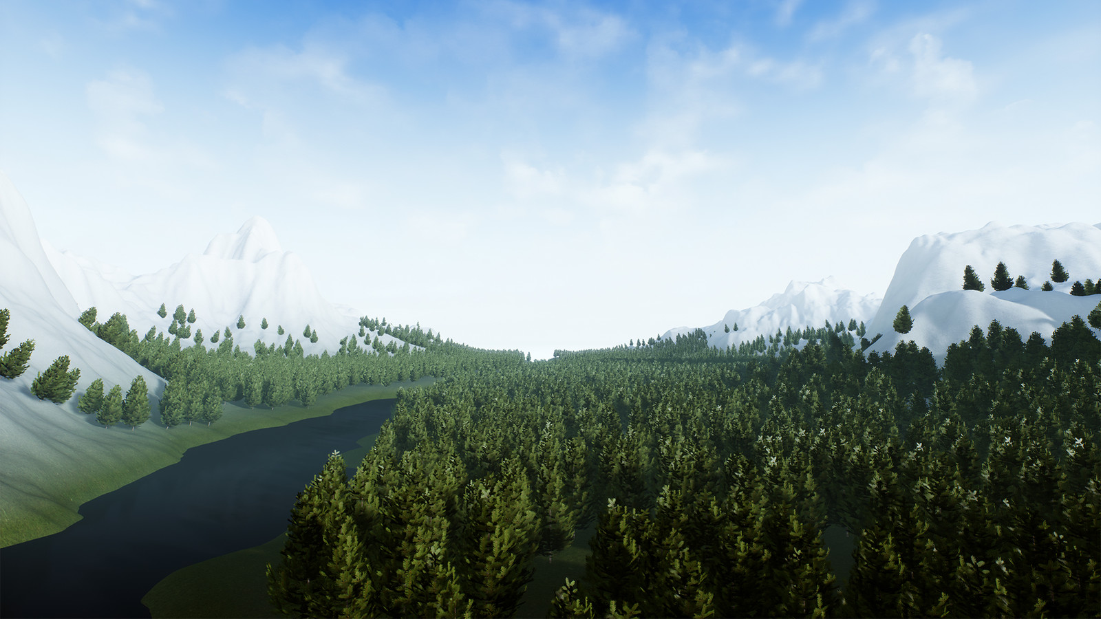 A close up view of the second terrain, showing the river feature of the tool and how the foliage placement also interact with it.
