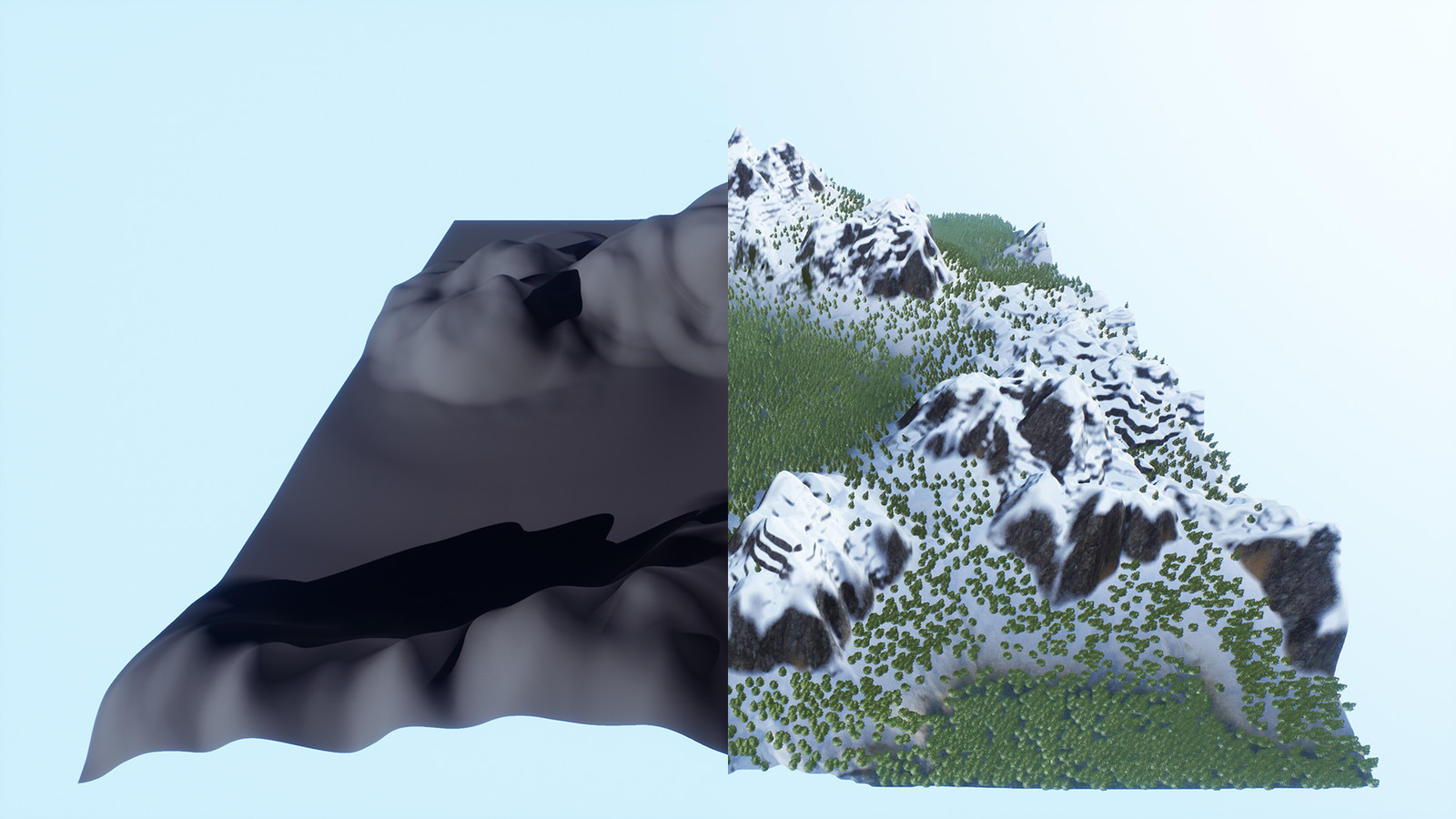 How the first terrain started of (as a sculpt) and how it looks after the tools have processed it.